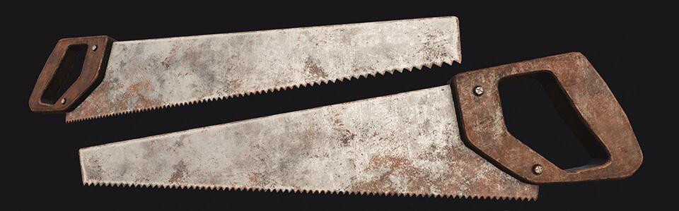 antiguas herramientas de carpintería serrucho